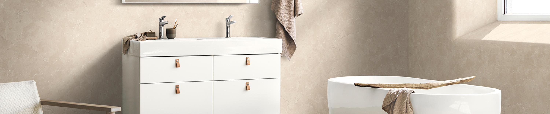 Aquarelle baderom i beige marmor