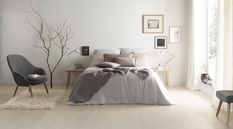 Et lyst nordisk parkettgulv i ditt soverom?