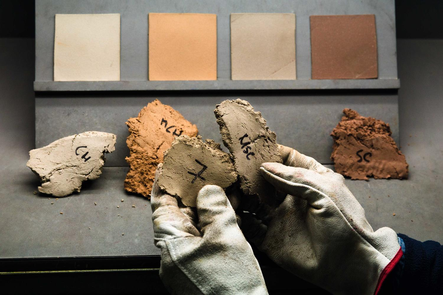 Linoleum paste samples being colour tested