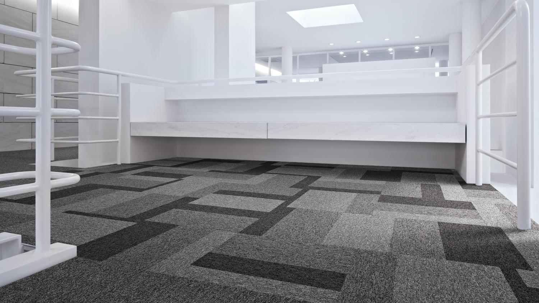 Installatie combinatie tapijtplanken en tapijttegels