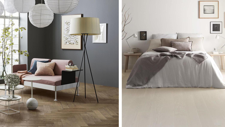 Wood flooring in the living room and bedroom  Tarkett