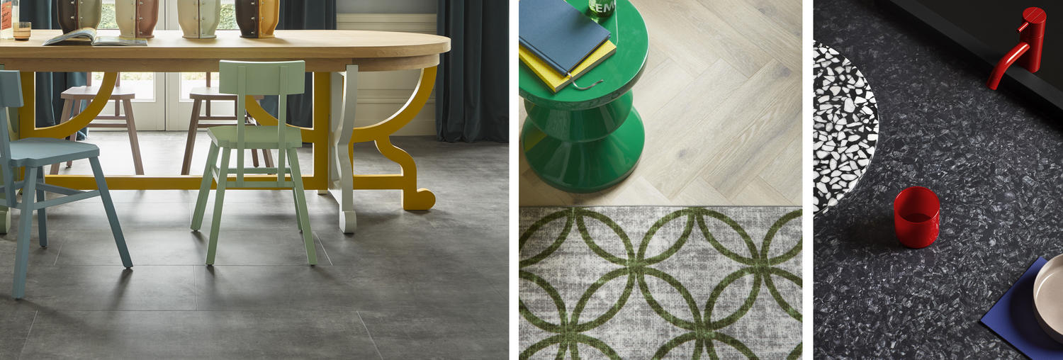 Tarkett's colourful textured and wooden floors can easily become a part of a Good Vibes interior in which contrast is key