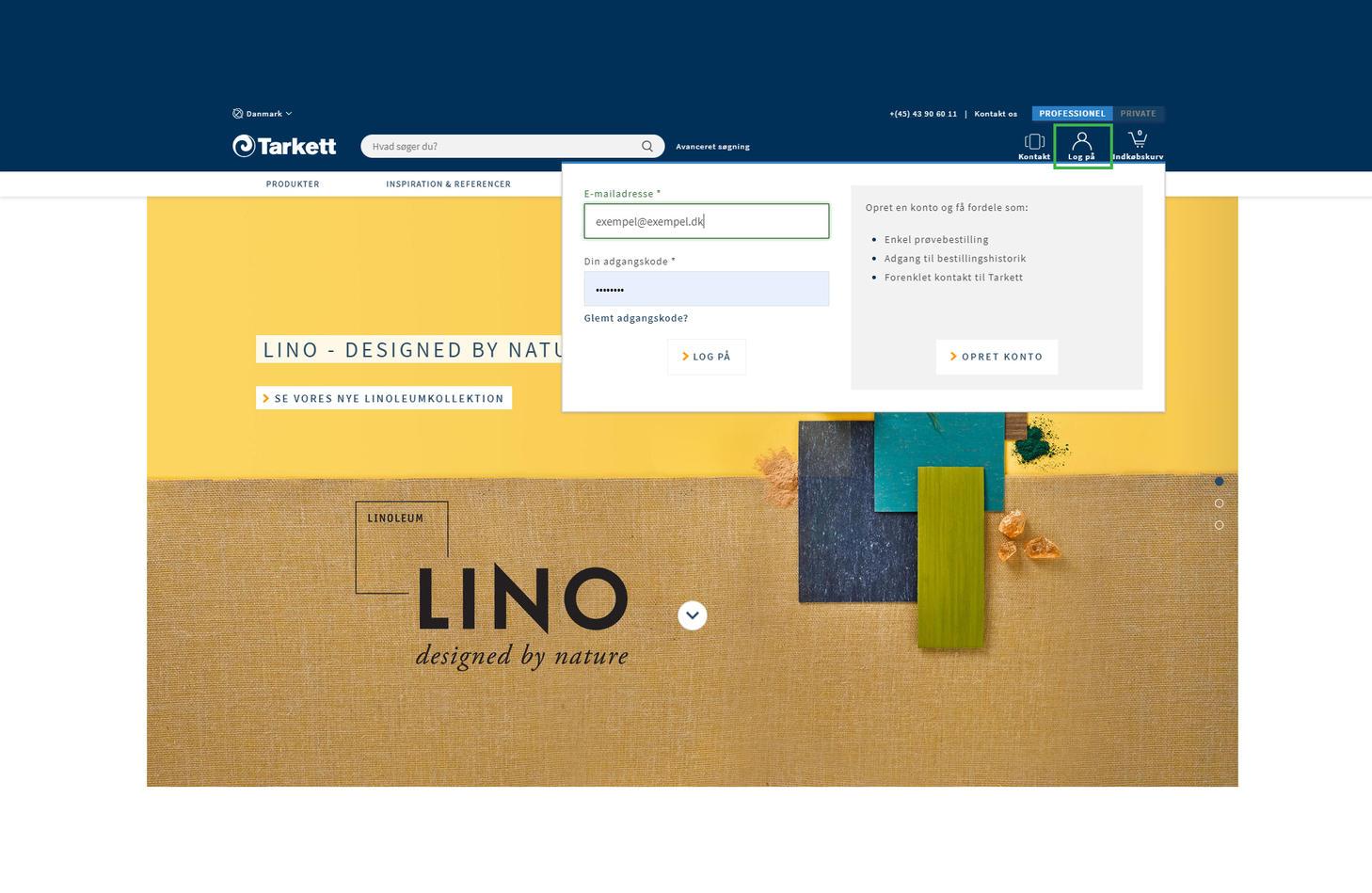 Printscreen fra Tarketts web, hvordan man får adgang til prislisten