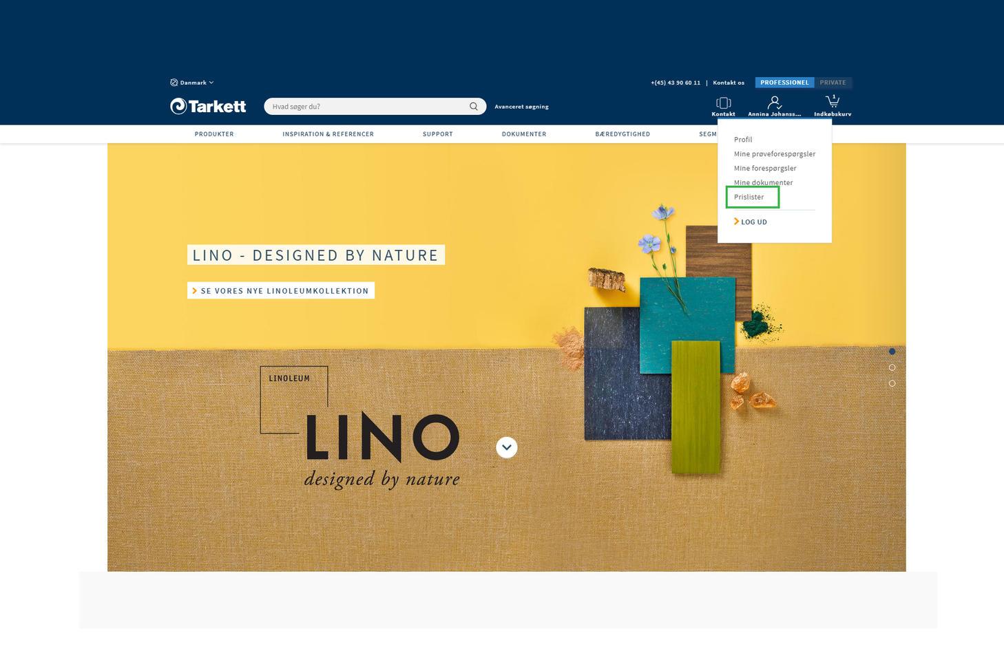 Printscreen af hvordan købende kunderne får adgang til vores prisliste