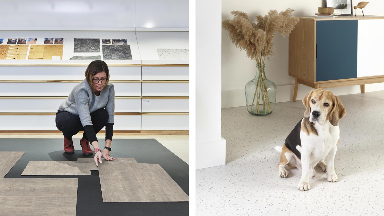 Designer selecting Tarkett flooring next to a dog chilling in living room