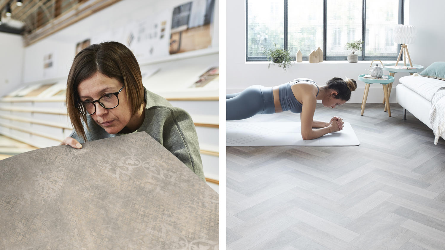 Designer selecting Tarkett flooring next to a young woman exercising in her living room