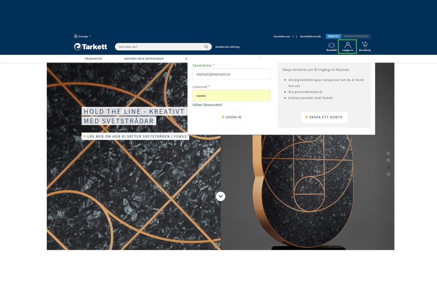 Printscreen fårn Tarketts webb, hur man kommer åt prislistan