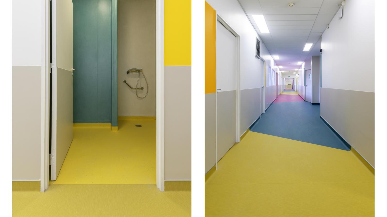 Necker Hospital in Paris Tarkett project with heterogeneous vinyl flooring