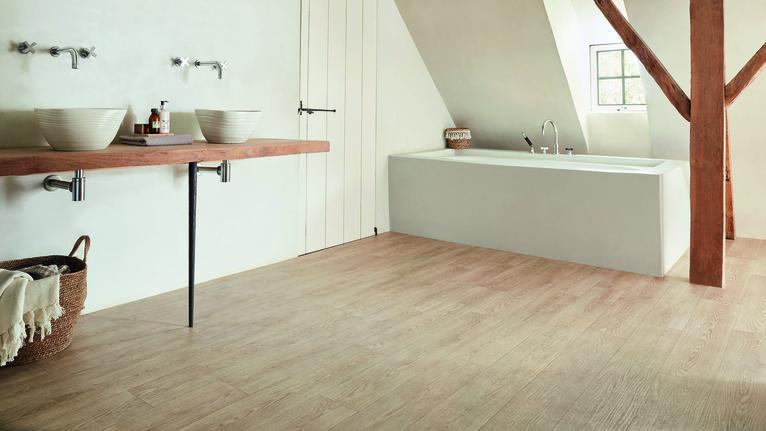 Wood flooring in the bathroom