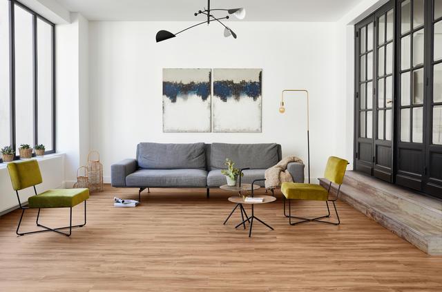 Vinyl floors in the living room and bedroom