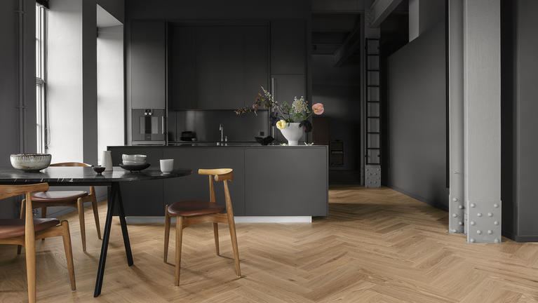 Wood flooring in the kitchen