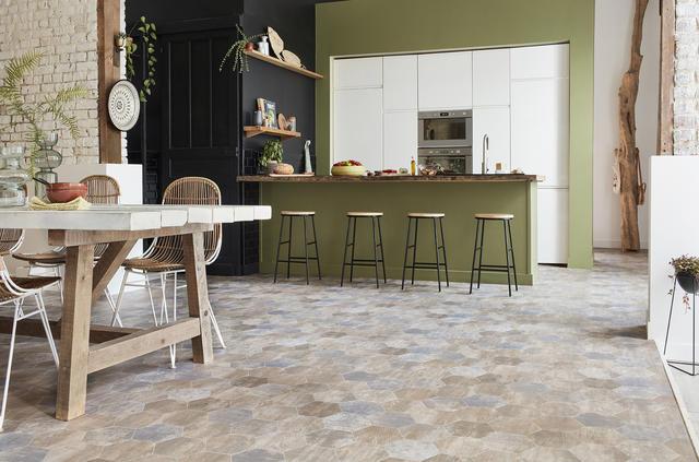 Vinyl floors in the kitchen and bathroom