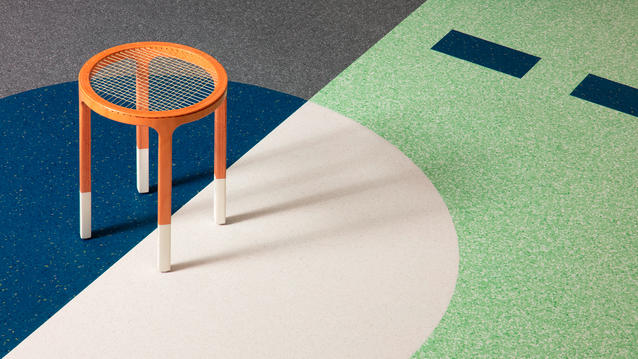 Using resilient flooring inlays to create landmarks