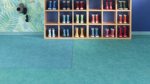 Essential heterogeneous vinyl flooring collection in acoustic and compact versions