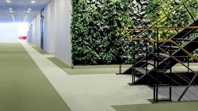 Grön korridor med Tarketts iQ Granit golv och gröna växter